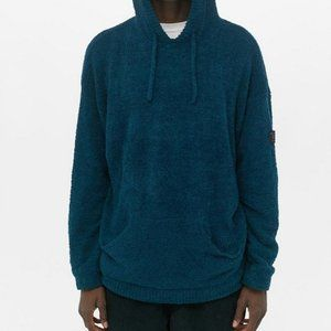 Urban Outfitters Teal Deep V-Neck Teddy Hoodie